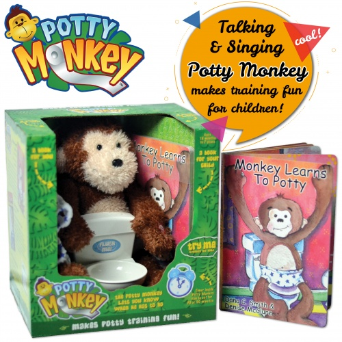 Potty Monkey potty training set includes plush, talking monkey, diaper, underpants, toilet with flushing sounds, The Potty Trainer book, Monkey Learns to Potty book, and reward chart and stickers.