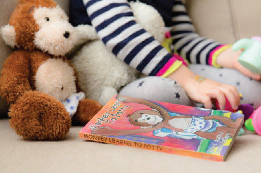 "Potty Monkey and the ""Monkey Learns to Potty"" book"