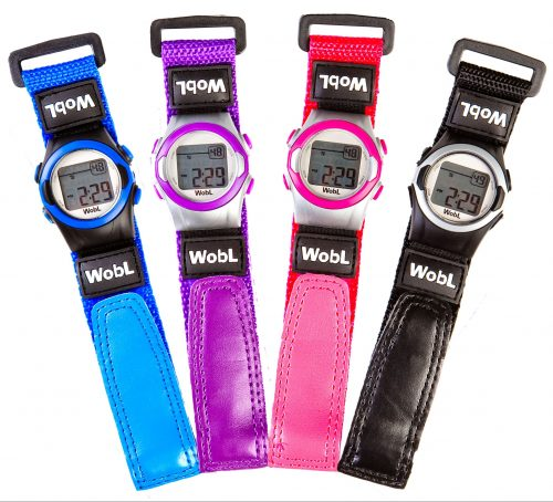 WobL potty training watch, blue, purple, pink, black