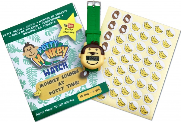 Instructions, watch, and reward stickers for Potty Monkey reminder alarm.