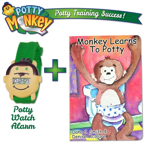 Set of Potty Monkey Watch and Monkey Learns to Potty book for potty and toilet training.