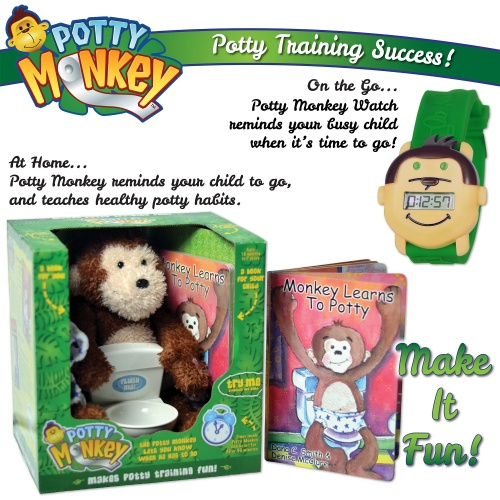 Set of Potty Monkey collection plus Potty Monkey Watch for potty and toilet training.