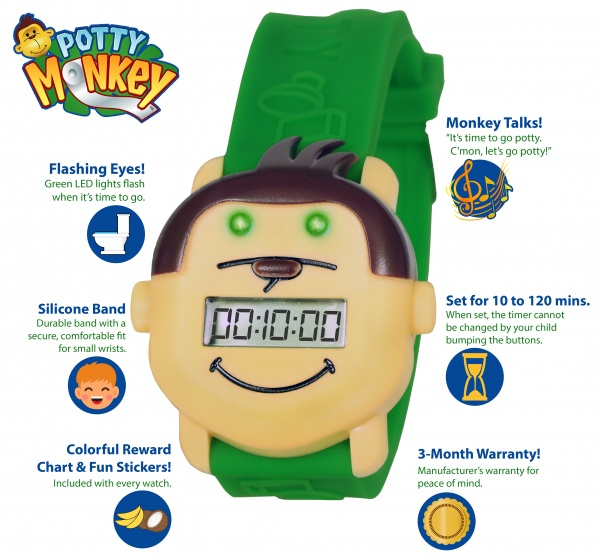 Potty Monkey Watch features highlighted - alarm, countdown timer, potty reminder for potty and toilet training.
