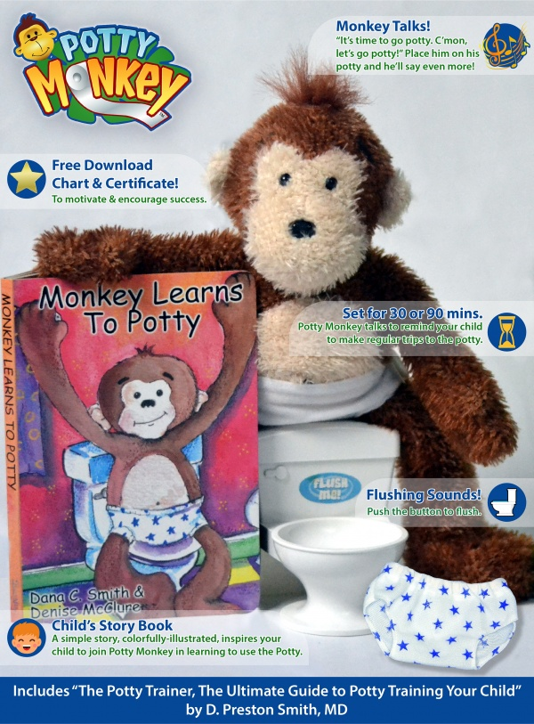 Potty Monkey features such as repeated audible reminders, board book and flushing-sounds toilet included, downloadable rewards chart and certificate of completion; includes books for the child and for parents.