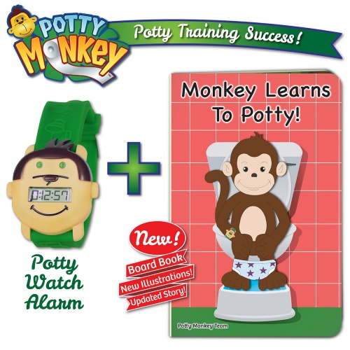 Potty Monkey Watch packaged with Monkey Learns To Potty board book, new edition with new illustrations and updated story! Great for potty training!